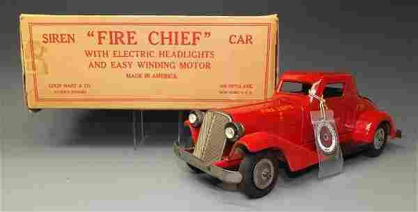 DONALD KAUFMAN MARX SIREN FIRE CHIEF CAR & BOX