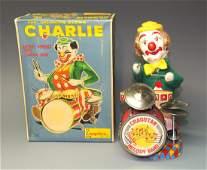 ALPS B/O CHARLIE THE DRUMMING CLOWN & BOX