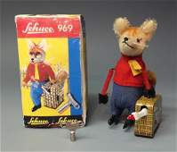 SCHUCO GERMAN 969 FOX WITH SUITCASE & GOOSE WINDUP &