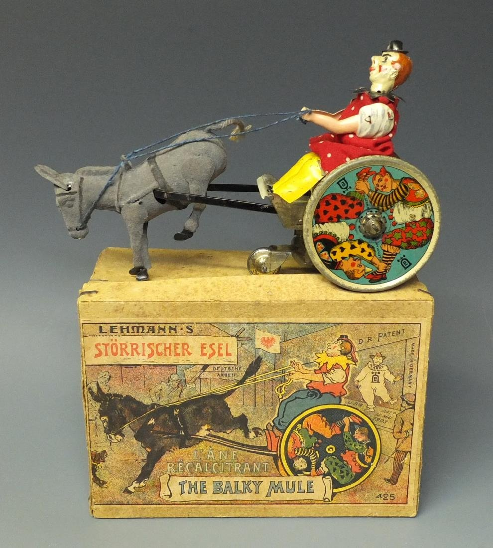 LEHMANN BALKY MULE CLOWN TIN WINDUP & BOX