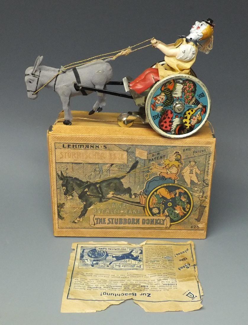 LEHMANN STUBBORN DONKEY TIN WINDUP & BOX
