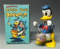 LINEMAR DISNEY DONALD DUCK DRUMMER WINDUP & BOX