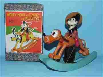 12: MICKEY MOUSE COWBOY CELLULOID WIND UP TOY & BOX
