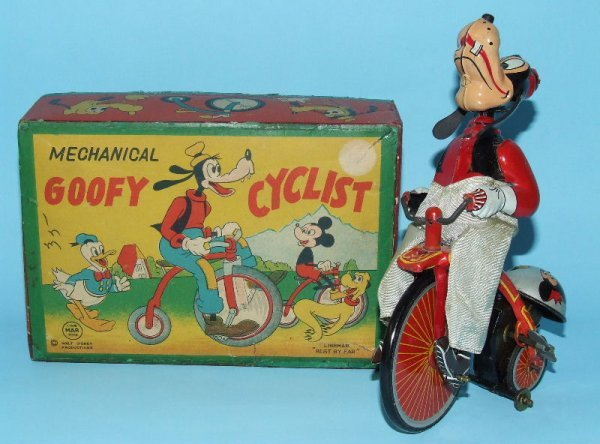 15: LINEMAR DISNEY GOOFY CYCLIST TIN WIND UP & BOX