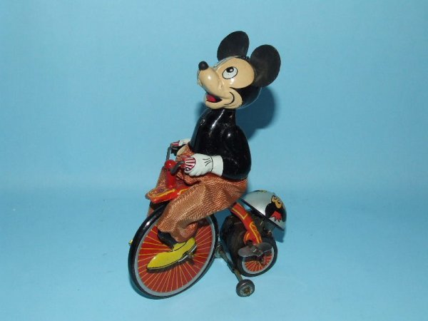 16: LINEMAR DISNEY MICKEY MOUSE CYCLIST TIN WINDUP TOY