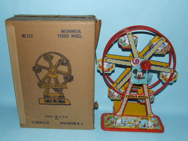 18: CHEIN MICKEY MOUSE FERRIS WHEEL TIN WIND UP & BOX
