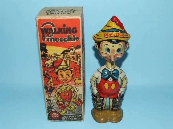 21: MARX DISNEY WALKING PINOCCHIO TIN WINDUP TOY & BOX