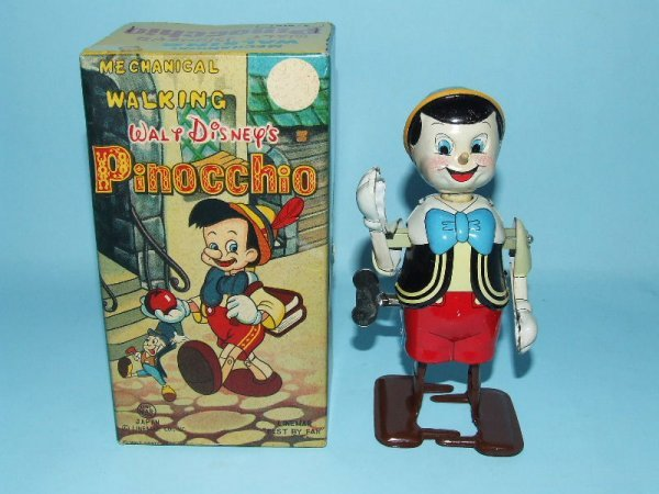 22: LINEMAR DISNEY WALKING PINOCCHIO TIN WIND UP & BOX