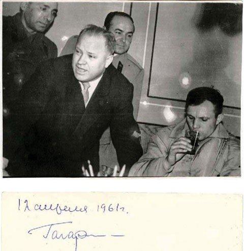 7:   GAGARIN, Yuri:  Signed Flight Day Photo