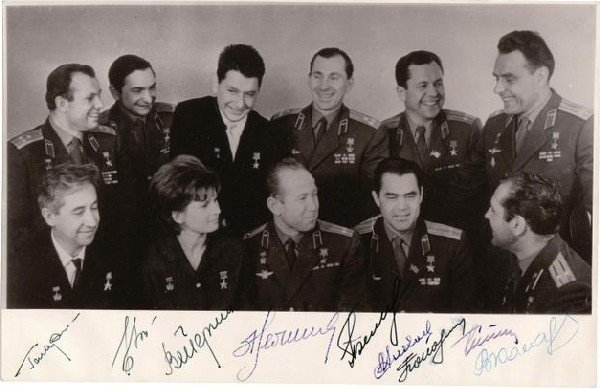 12: Group autograph of first Soviet Cosmonauts.