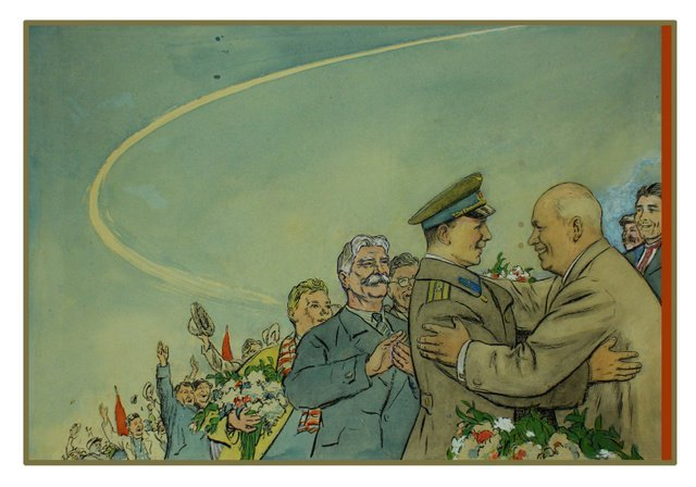 101: ANONYMOUS ARTIST. [Gagarin Greeted by Khrushchev],