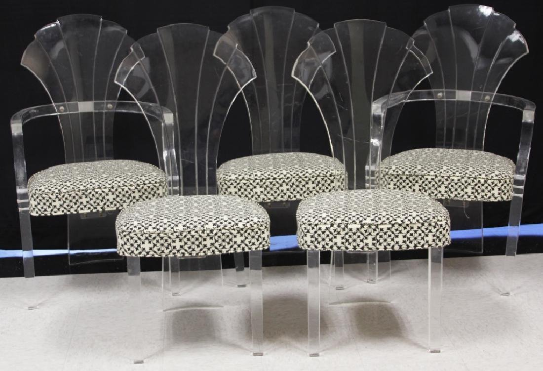 SET OF (5) MID-CENTURY ACRYLIC DINING CHAIRS