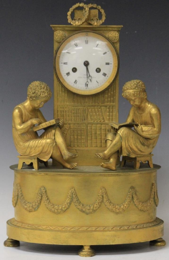 FRENCH EMPIRE GILT METAL MANTLE CLOCK,19TH CENTURY