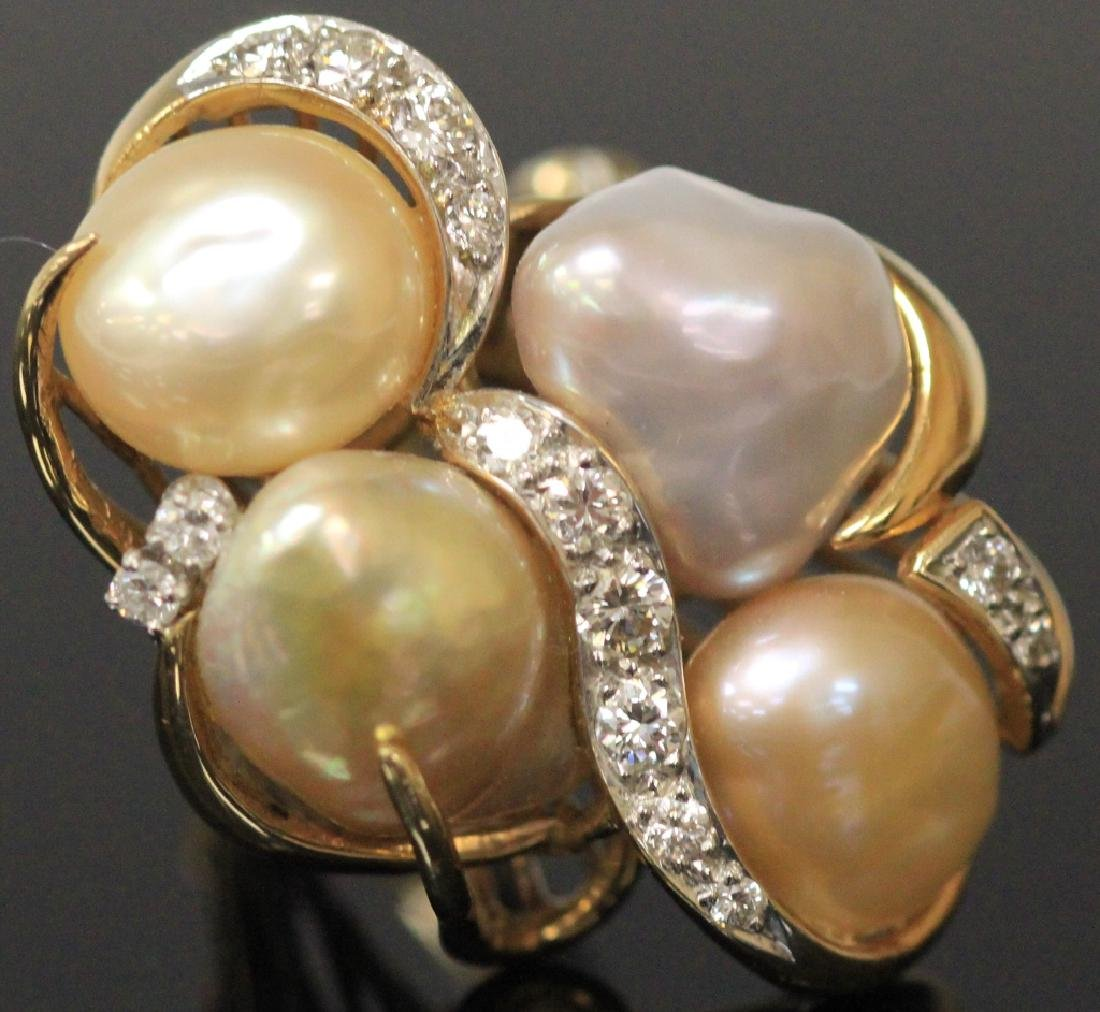 LADY'S PEARL AND DIAMOND 14KT RING