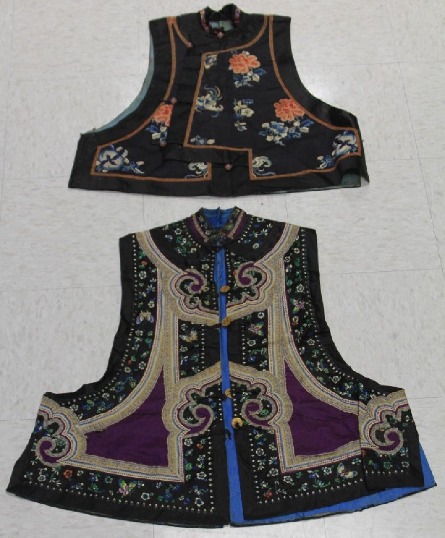 LOT OF (2) CHINESE EMBROIDERED VESTS