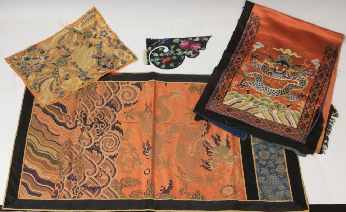 LOT OF (4) CHINESE EMBROIDERED TAPESTRIES