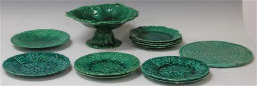 LOT OF (12) VINTAGE MAJOLICA COMPOTES, PLATES