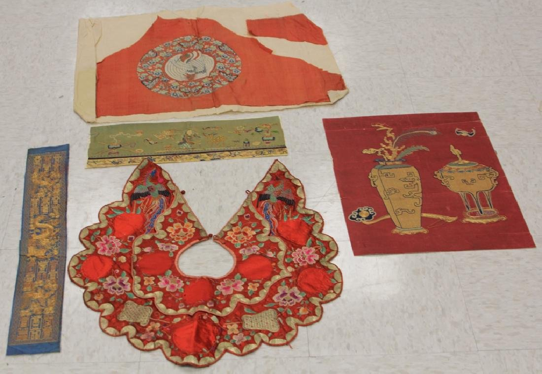 LOT OF (5) CHINESE EMBROIDERED TAPESTRIES
