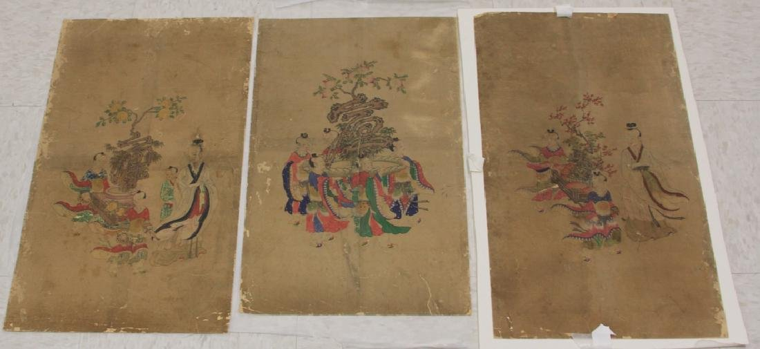 LOT OF (3) CHINESE 16TH CENTURY PAINTINGS