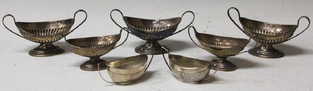 SET OF (7)  SILVERPLATED SALT BOATS