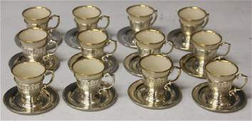 LOT OF 12 SILVER AND GOLD LENOX DEMITASSE CUPS