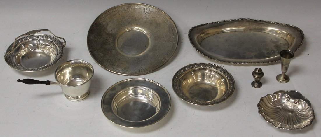 LOT OF (9) VINTAGE STERLING SILVER PLATES AND CUP