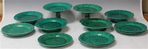 LOT OF (13) VINTAGE MAJOLICA COMPOTES AND PLATES
