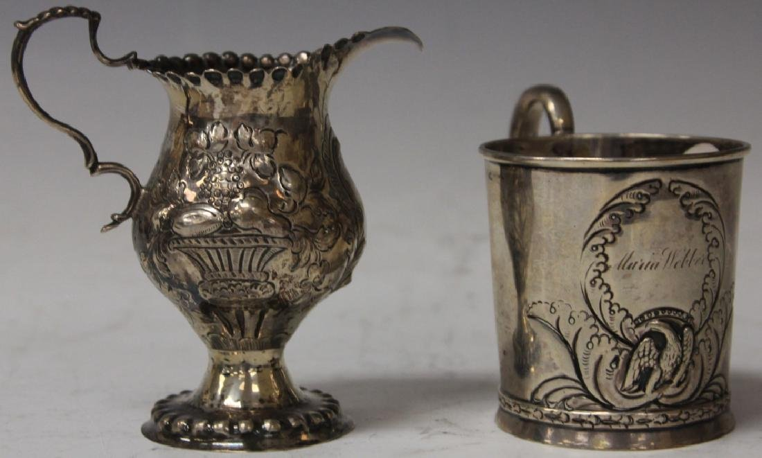 LOT OF (2) EARLY SILVER CUP AND PITCHER