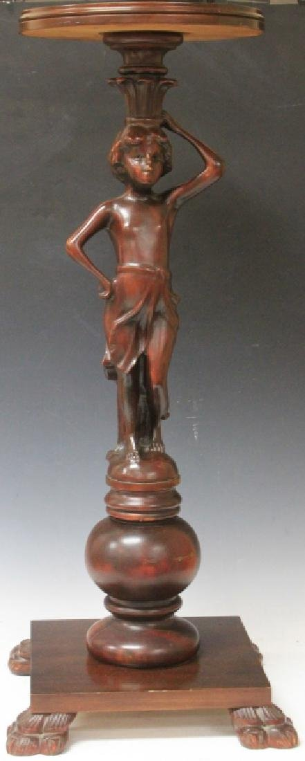 EARLY 20TH CENTURY CARVED FIGURAL PEDESTAL