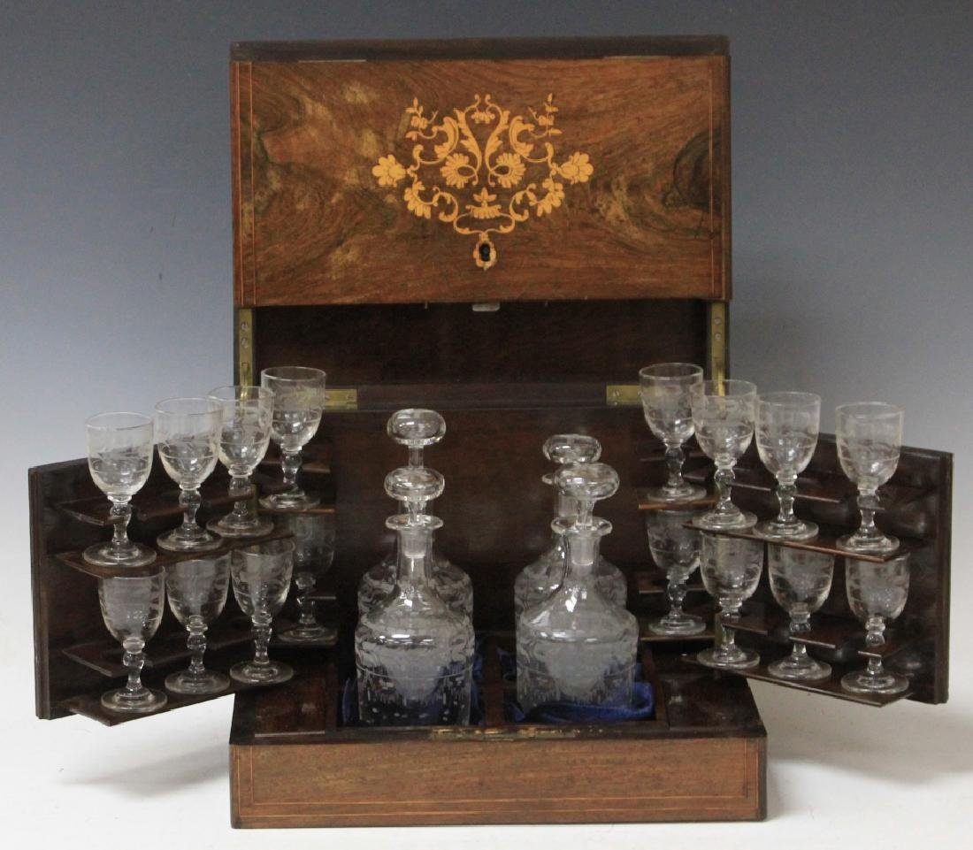 FRENCH LATE 19TH CENTURY INLAID TANTALUS SET