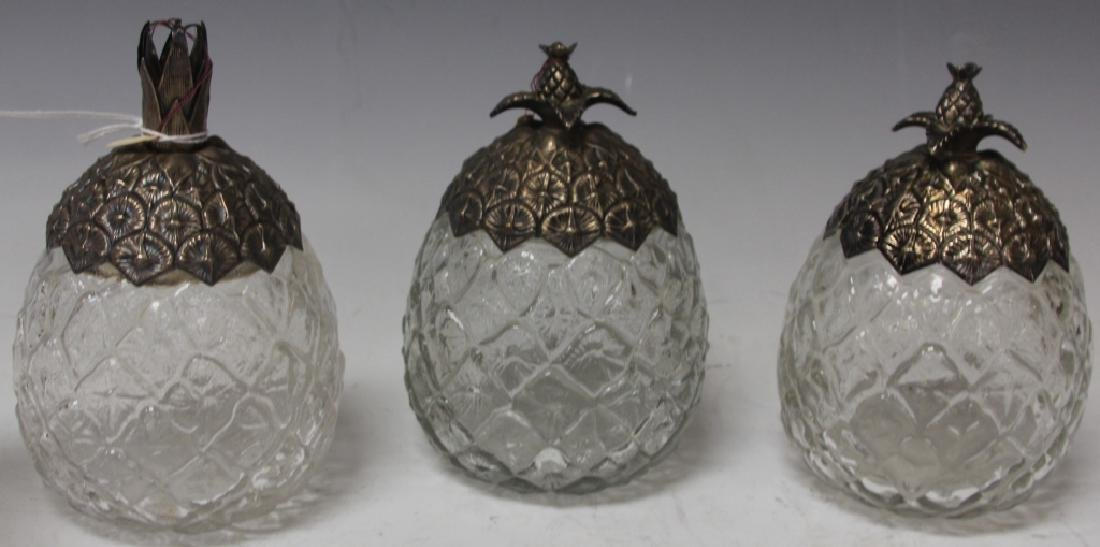 LOT OF (3) STERLING SILVER AND CRYSTAL JARS
