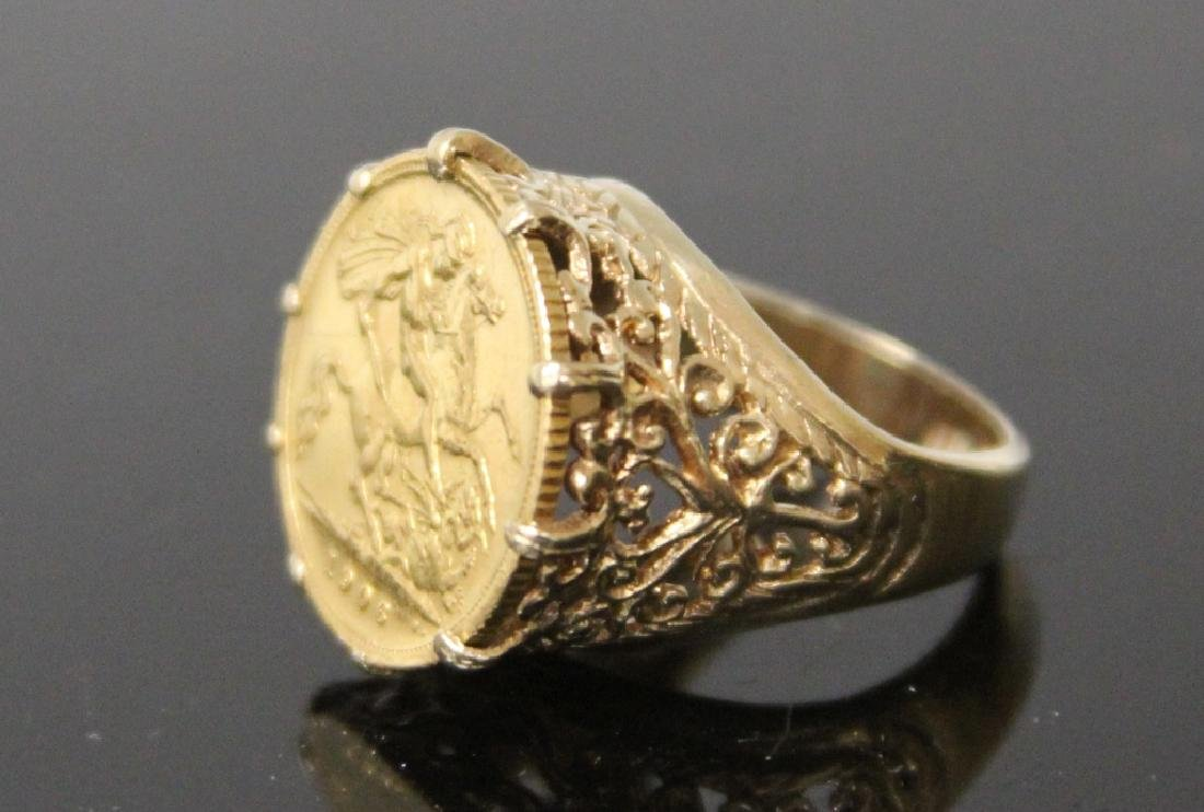 EDWARD VII 1906 GOLD COIN RING, SET IN 9KT - 2