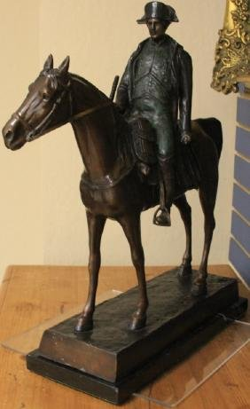 FRENCH CAST BRONZE STATUE OF NAPOLEON ON HORSE