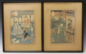 PAIR OF UTAGAWA KUNISADA (1786-1865), WOODBLOCKS