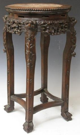 EARLY CHINESE CARVED ROSEWOOD SIDE TABLE