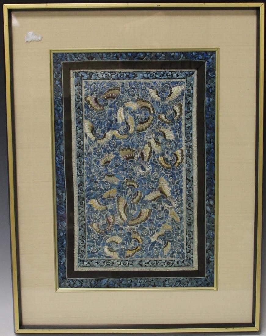 VINTAGE CHINESE SILK EMBROIDERED TAPESTRY, FRAMED