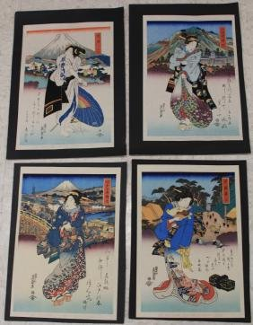 LOT OF (4) VINTAGE JAPANESE WOODBLOCK PRINTS