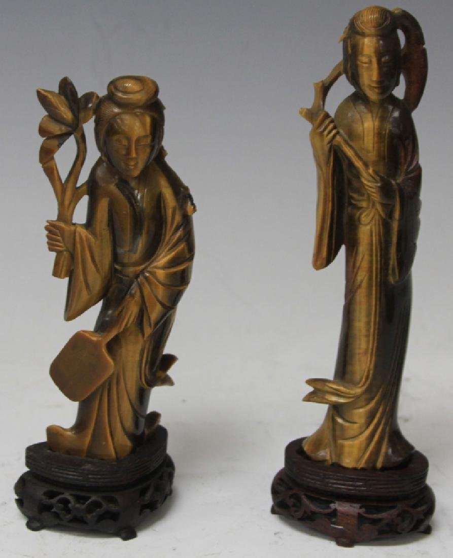 PAIR OF TIGER'S EYE QUAN YIN STATUES WITH STANDS