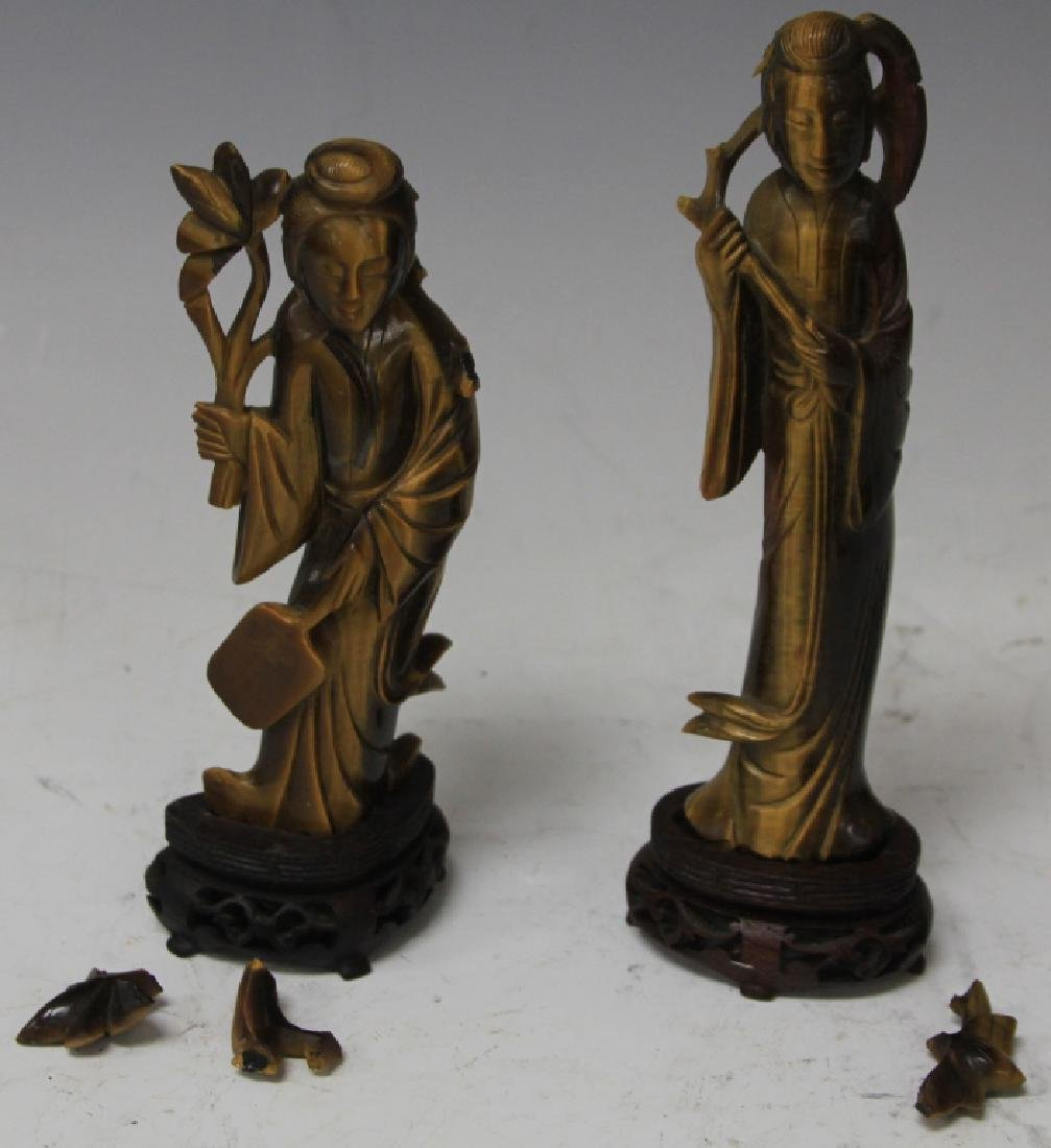 PAIR OF TIGER'S EYE QUAN YIN STATUES WITH STANDS - 2