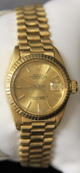 LADY'S ROLEX 18KT OYSTER PERPETUAL DATEJUST WATCH