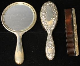 STERLING SILVER (3)-PIECE BRUSH SET