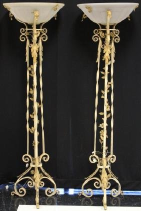 PAIR OF VINTAGE IRON FLOOR LAMPS W/ ETCHED SHADES