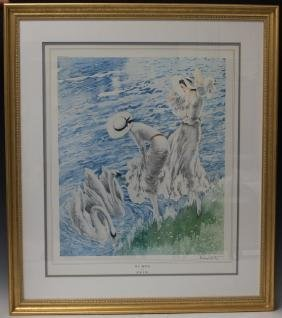 LOUIS ICART (1888-1950), FRAMED PRINT OF THE SWANS