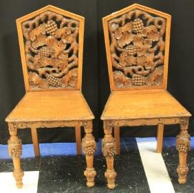 PAIR OF GOTHIC CARVED OAK CHAIRS, 19TH CENTURY