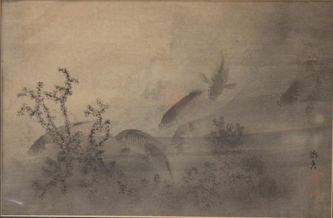 VINTAGE JAPANESE PAINTING ON SILK, SIGNED - 2
