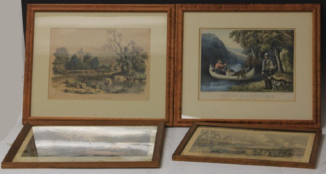 LOT OF (4) CURRIER AND IVES FRAMED PRINTS