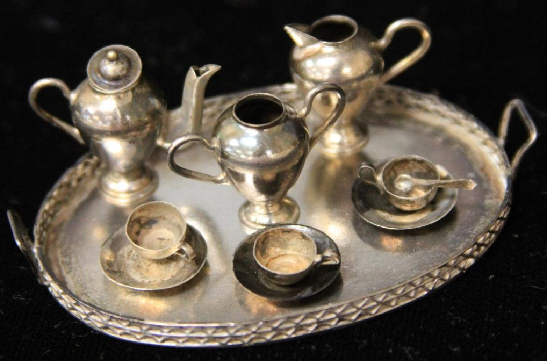 MINIATURE STERLING TEA SET, 12PCS