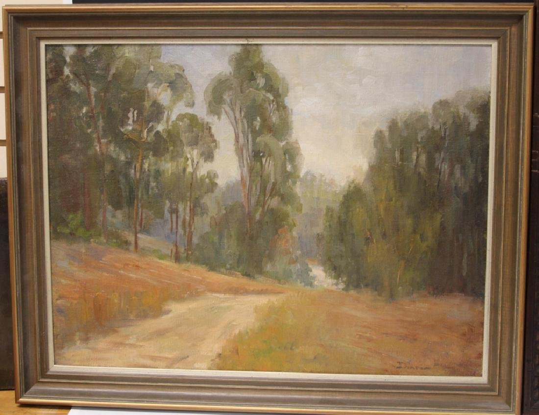 LOT OF (2) MID-CENTURY LANDSCAPES, OIL ON CANVAS - 2