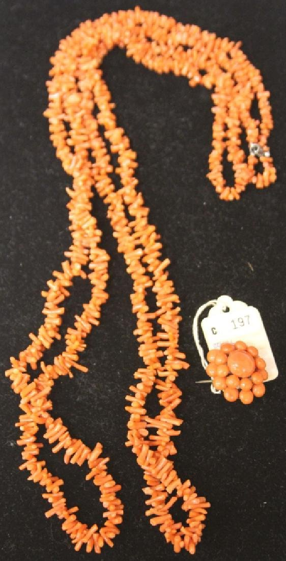 VINTAGE DOUBLE STRAND CORAL NECKLACE & PIN