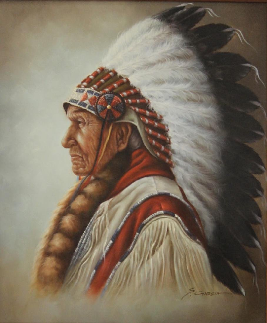 PORTRAIT OF NATIVE AMERICAN INDIAN, SIGNED GARCIA